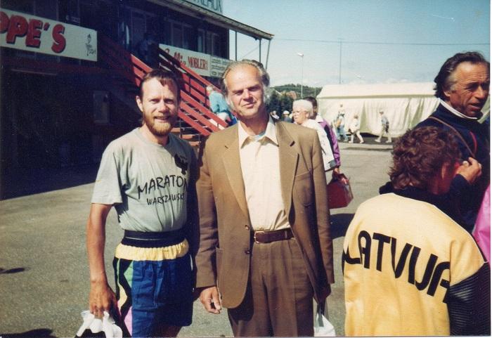 Z Janisem Łusisem, mistrzem olimpijskim w rucie oszczepem