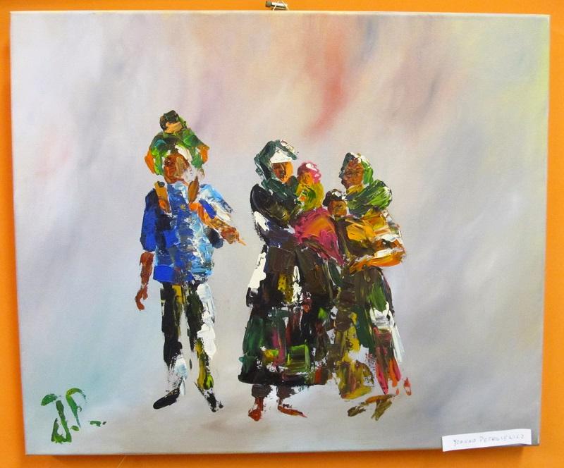 Obraz przedstawiający trzy postacie z dziećmi